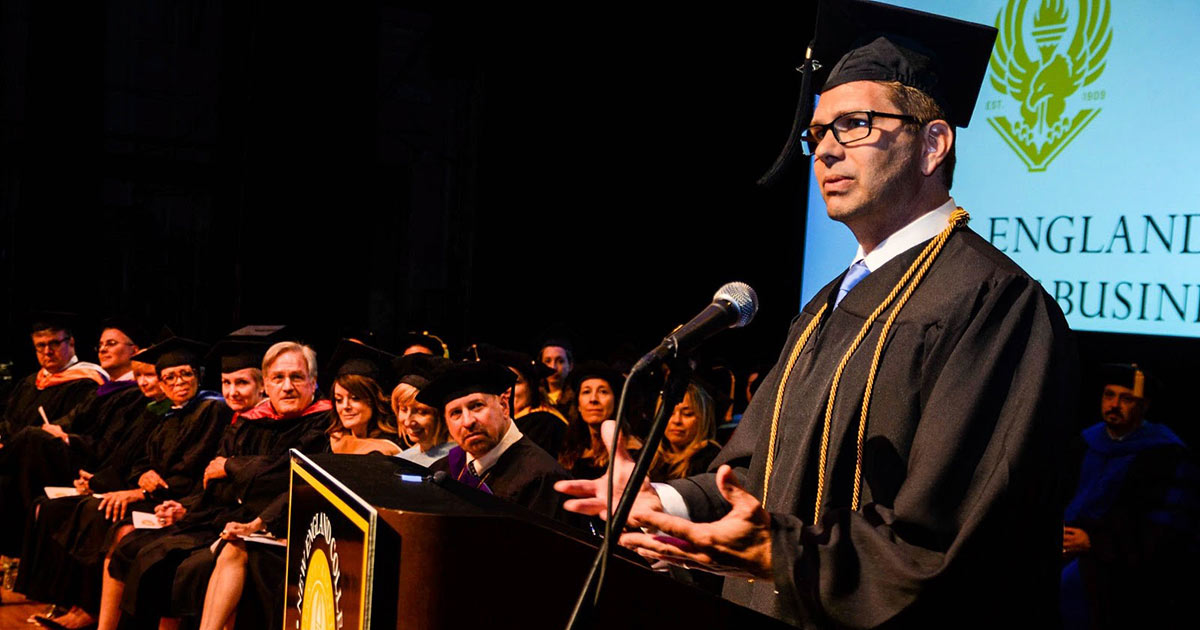 Grad Speaks at Commencement